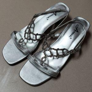 Annie silver diamond look straps - sandals shoes